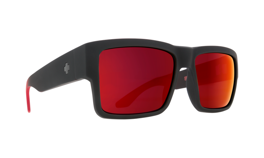 Cyrus Soft Matte Black Red Fade - HD Plus Gray Green with Red Light Spectra Mirror