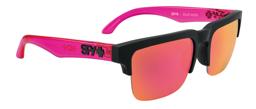 Helm 5050 - Soft Matte Black Translucent Pink/HD Plus Gray Green with Pink Spectra Mirror